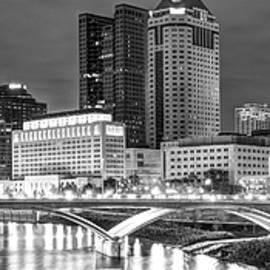 Gregory Ballos - Columbus Skyline Panorama Black and White - Ohio USA