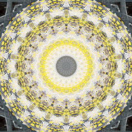 Concrete and Yellow Mandala- Abstract Art by Linda Woods by Linda Woods