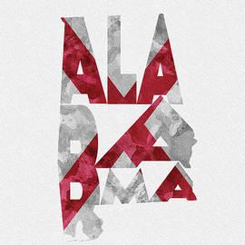 Alabama Typographic Map Flag - Inspirowl Design