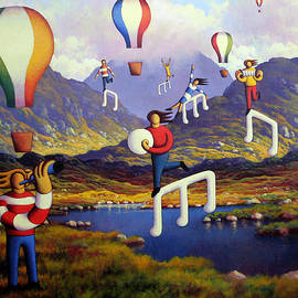 Alan Kenny - Connemara landscape with balloons and figures