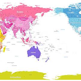 Continents World Map - Michael Tompsett
