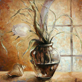 Contre Jour. White tulip in a vase.Oil painting on canvas by Vali Irina Ciobanu