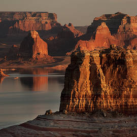 Cookie Jar Butte, Lake Powell, at Sunset by Dave Wilson