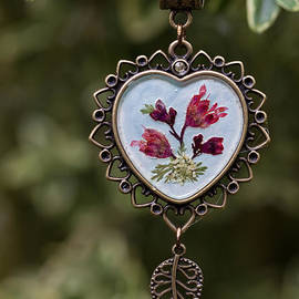 Coral Bell Pressed Flower Pendant by Em Witherspoon