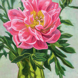 Fiona Craig - Coral Peony in Green Glass