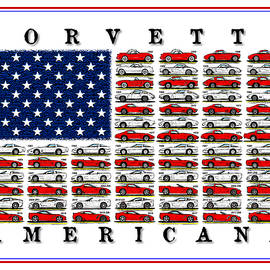 Corvette American Flag by K Scott Teeters