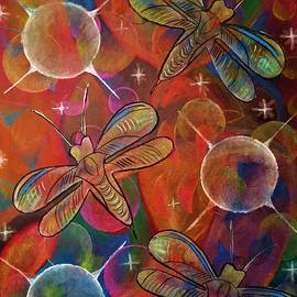 Cosmic Dragonflies II Pattern Art by Laurie's Intuitive