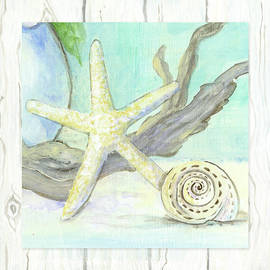 Cottage At The Shore 7 Starfish Driftwood And Seashell Over Wood by Audrey Jeanne Roberts