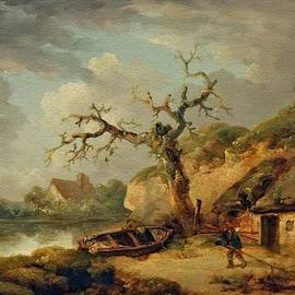Cottages Near A Lake - After George Morland L A S by Gert J Rheeders