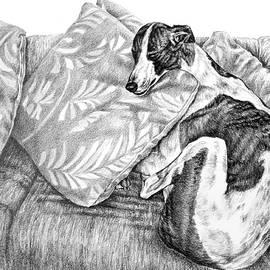 Couch Potato Greyhound Dog Print by Kelli Swan