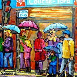 Couche Tard Verdun Depanneur Rainy Day Cityscene Montreal Quebec Streetscene Painting C Spandau Art  by Carole Spandau