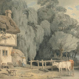 Country Scene - Figures by a Cottage Door and Cattle in a Stream - Francis Wheatley