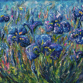 Lena  Owens OLena Art - Countryside Irises Oil painting with palette knife