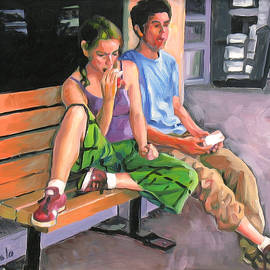 Couple eating a snack by Dominique Amendola