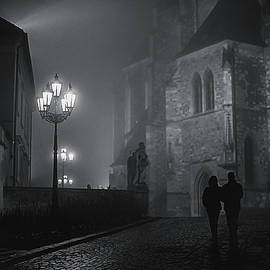Jenny Rainbow - Couple in Misty Night. Gothic Age. Black and White