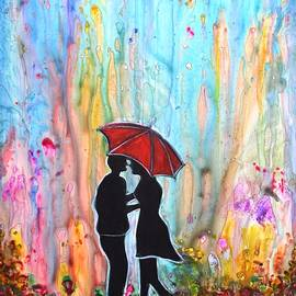 Couple on a Rainy Date romantic painting for valentine by Manjiri Kanvinde