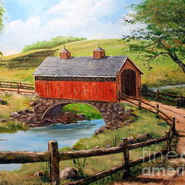 Lee Piper - Covered Bridge Country Farm Folk Art Landscape