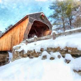 Covered Bridge Winter Corbin Bridge Newport - Edward Fielding