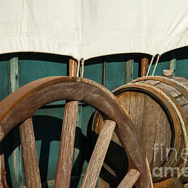 Covered Wagon Wheel and Water Barrel by Bob Phillips
