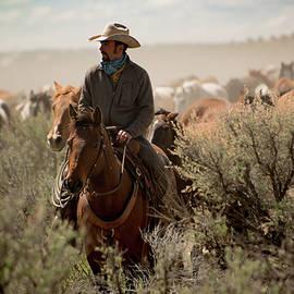 Georgia Evans - Cowboy leading horse herd through sage brush