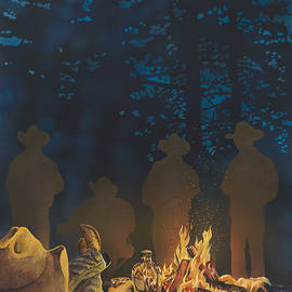 Cowboys Campfires And Crown by Tim  Joyner