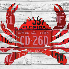Crab in License Plates Beach House Vintage Decor Series 003 - Design Turnpike