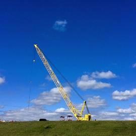 Crane On Road Construction Site