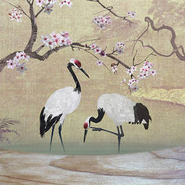 Cranes under Cherry Tree by M Spadecaller