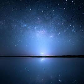 Crescent Moon Milky Way by Mark Andrew Thomas