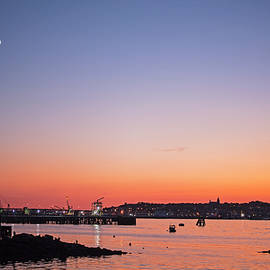 Toby McGuire - Crescent Moon over Portland Maine at Sunset