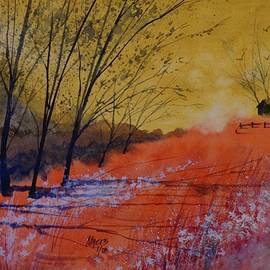 David K Myers - Crimson Farm Watercolor