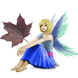 Yuichi Tanabe - Crimson King Maple Tree Fairy with a Leaf