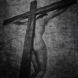 Ramon Martinez - Crucifix in dark painting