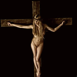 Ramon Martinez - Crucifix in painted sepia I