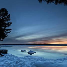 Cut River Dam Winter Blue Hour by Ron Wiltse