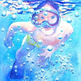 Cute Child Snorkeling Underwater by Carlin Blahnik CarlinArtWatercolor