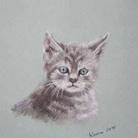 Cute little cat pastel painting by Karen Kaspar