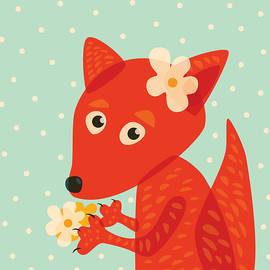 Boriana Giormova - Cute Pretty Fox With Flowers