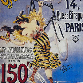 Cycles A Mercier 14 Ruede Birague Paris Naughty vintage poster with half naked lady by R Muirhead Art