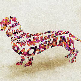 Dachshund / Sausage Dog Watercolor Painting / Typographic Art - Ayse and Deniz