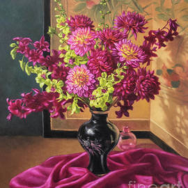 Dahlias and Orchids on Silk by Fiona Craig