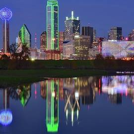 Dallas Blue Hour Reflection by Frozen in Time Fine Art Photography
