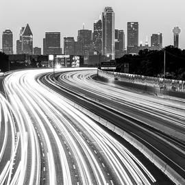 Gregory Ballos - Dallas Skyline Traffic Black and White - Square 1x1 Format