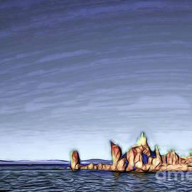 Eiko Tsuchiya - Dark Line Cartoon Drawing Lakefront at Mono Lake, Eastern Sierr