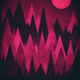 Philipp Rietz - Dark Triangles - Peak Woods Abstract Grunge Mountains Design in red black