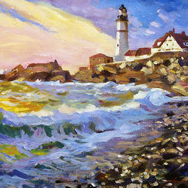 Dawn Breaks Cape Elizabeth plein air by David Lloyd Glover
