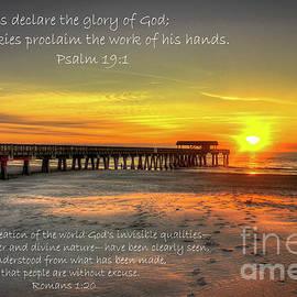 Reid Callaway - Dawn Tybee Pier Psalm 19 Tybee Island Sunrise Scripture Art