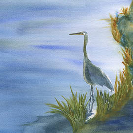 Frank Bright - Daybreak with a Great Blue Heron