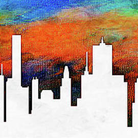 Decorative Abstract Skyline Houston R1115d by Mas Art Studio