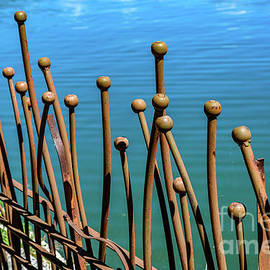 Decorative Iron Fence And Turqouise Water, Lefkada, Greece by Global Light Photography - Nicole Leffer